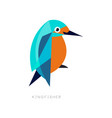 geometric symbol of kingfisher brightly colored vector image vector image
