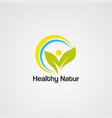 healthy nature logo icon template and element vector image