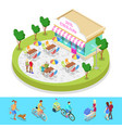 isometric city park composition with cafe vector image vector image