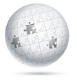 jigsaw puzzle globe sphere vector image