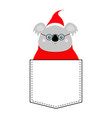 koala face head red santa hat sweater glasses vector image vector image