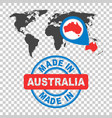 made in australia stamp world map with red vector image vector image