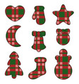 new year symbols felt toys made of fabric tartan vector image vector image