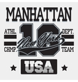 New York City Typography Manhattan T-shirt vector image vector image