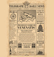 old newspaper template retro newsprint vector image vector image