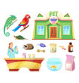 pet shop animals and products to take care of them vector image