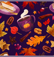 pumpkin spice cozy seamless pattern with fall art vector image