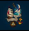 sailor tattoo set vector image vector image