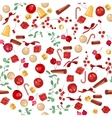 Seamless Christmas pattern with fruits vector image vector image