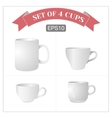 Set of 4 isolated white cups vector image