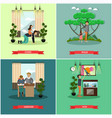 Set of father concept posters in flat style vector image