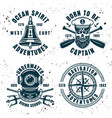 set of four maritime emblems or badges vector image vector image