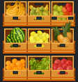 showcase or counter at organic food market vector image vector image