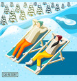 ski resort visitors isometric background vector image