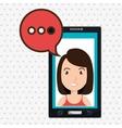 smartphone woman speech bubble vector image