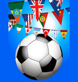 soccer football and world bunting background vector image vector image