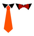 tie classic and bow colorful carrot color vector image