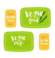 Vegan food labels vector image vector image