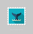 whale tail stamp summer vacation vector image
