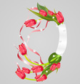 Wreath with tulip vector image vector image