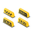 yellow roof taxi sign set isolated on white vector image vector image