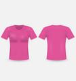 pink v-neck t-shirt template mens short sleeve vector image
