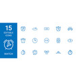 15 watch icons vector image vector image
