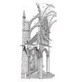 amiens cathedral cross section of gothic vector image vector image