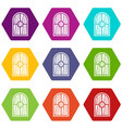 arched window icon set color hexahedron vector image vector image