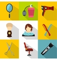 Barber icons set flat style vector image vector image