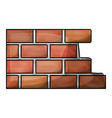 brick wall flat icon in colored crayon silhouette vector image