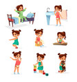 cartoon girl daily routine activity set vector image vector image