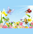 cartoon insects on flower field vector image