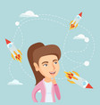 caucasian business woman looking at flying rockets vector image vector image