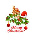 christmas cookie with xmas tree garland icon vector image vector image