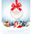 Christmas presents with a gift card and Santa hat vector image vector image