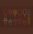 colorful different ice cream line icon vector image