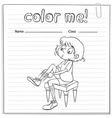 Coloring worksheet with a girl vector image vector image