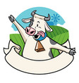 cow in the farm with cartoon style vector image vector image