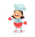cute cartoon little girl chef character in red vector image vector image