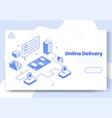 digital isometric design concept set of online vector image vector image