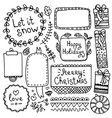 doodle christmas elements and frames vector image