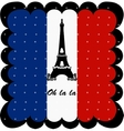 France flag and Eiffel Tower of Paris background vector image vector image