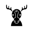 funny deer black icon sign on isolated vector image vector image