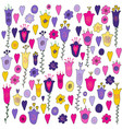 hand drawn flowers hearts and leaves doodle vector image