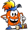 Hand-drawn of an Orange Gobling with a big hammer vector image vector image