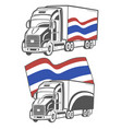 heavy truck with thai flag vector image vector image