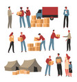 humanitarian help from volunteers giving parcels vector image vector image