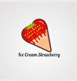 ice cream strawberry logo iconelement and template vector image