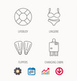 lifebuoy lingerie and flippers icons vector image vector image